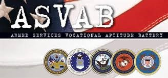 ASVAB: Armed Services Vocational Aptitude Battery with an American Flag background