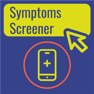 Blue Symptoms Screener logo with cell phone graphic