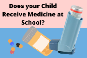 clipart of medication pills and inhaler captioned Medicine Administration at School